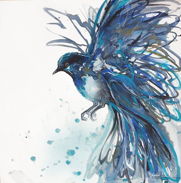 Artist Lenikae Fairy Wren Painting3 Watercolour Mixed Media