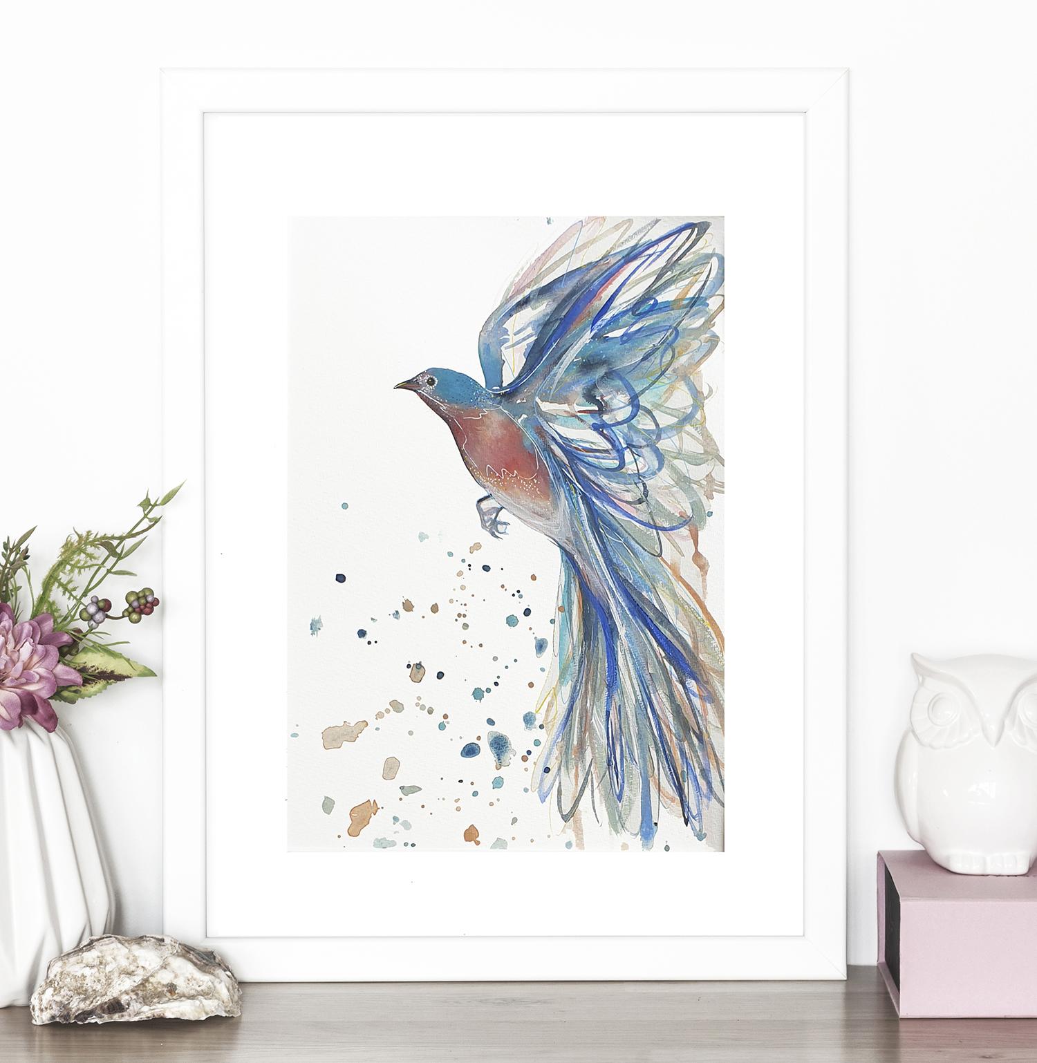 Bluebird In Flight Leni Kae Interior Design Watercolour Painting Original Square