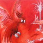 Red Parrot Burning Dog