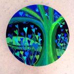 Heartland – harmonious garden acrylic on beech round