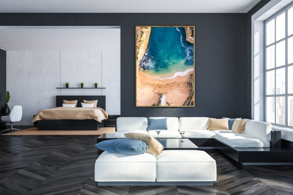 Poster In Gray Living Room Interior