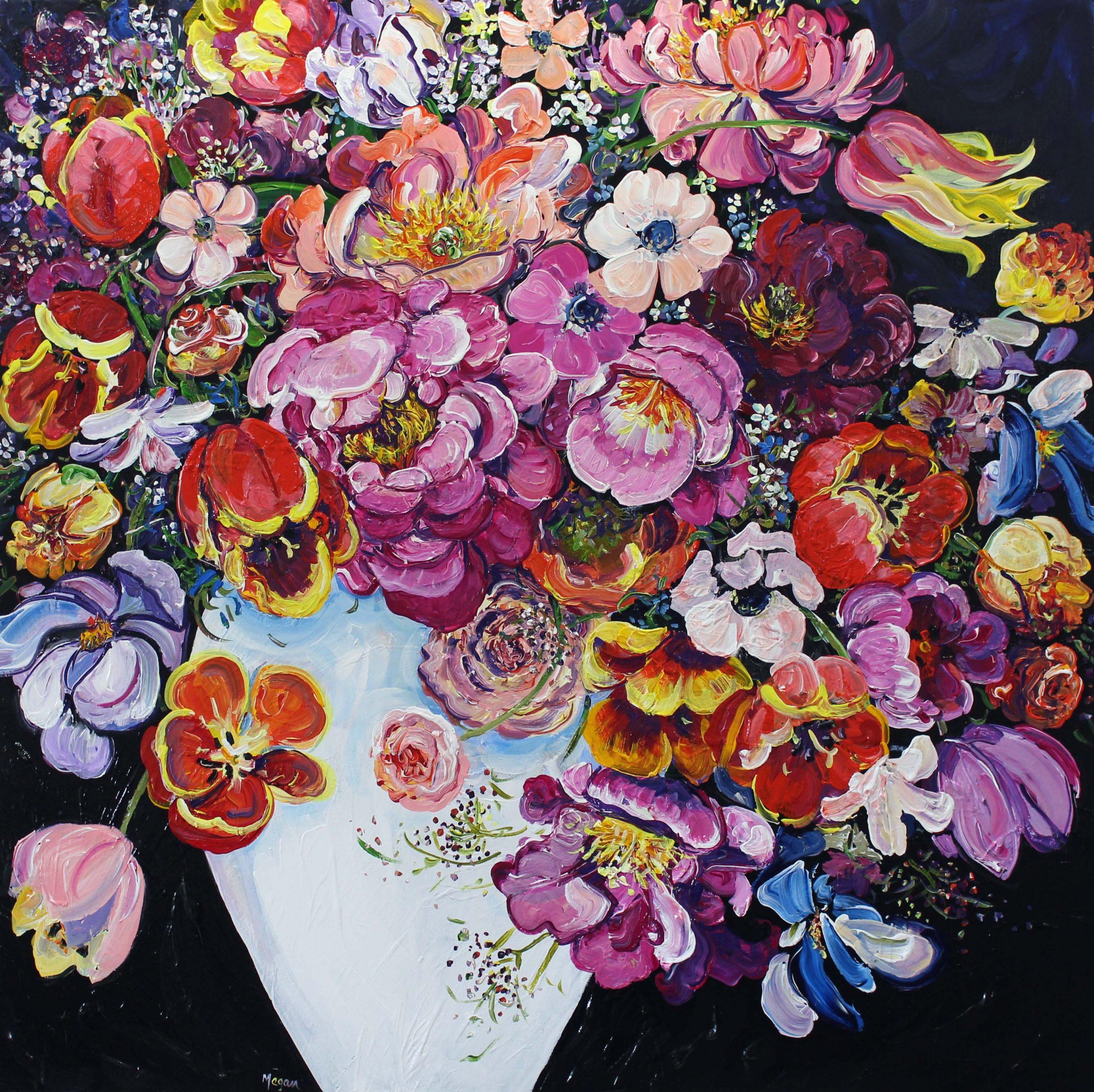 Luscious Bouquet 101x101cm Megan Barrass