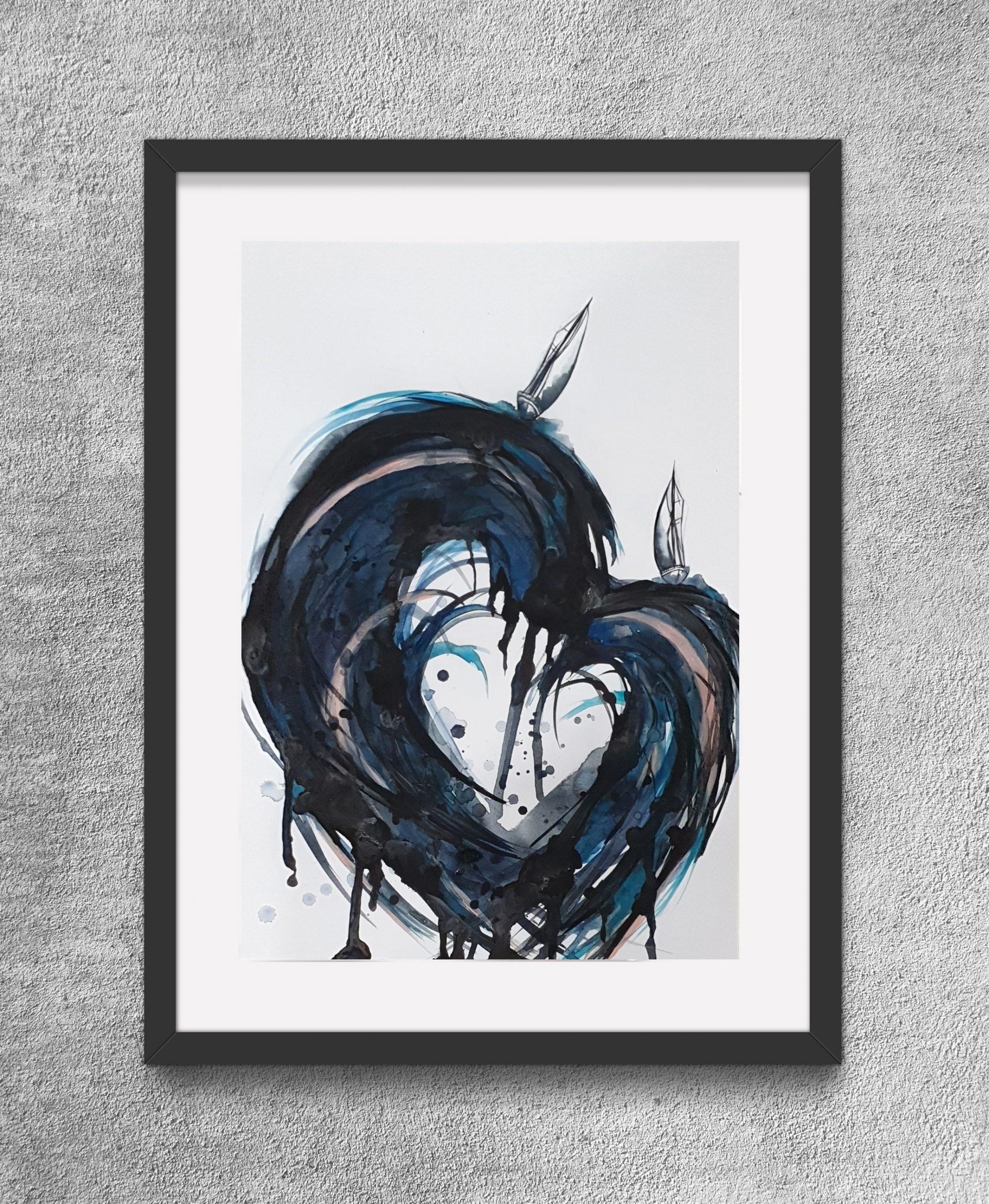 Our Sailing Hearts Framed Eg Artist Leni Kae Watercolour Art