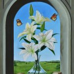 White lilies on the window