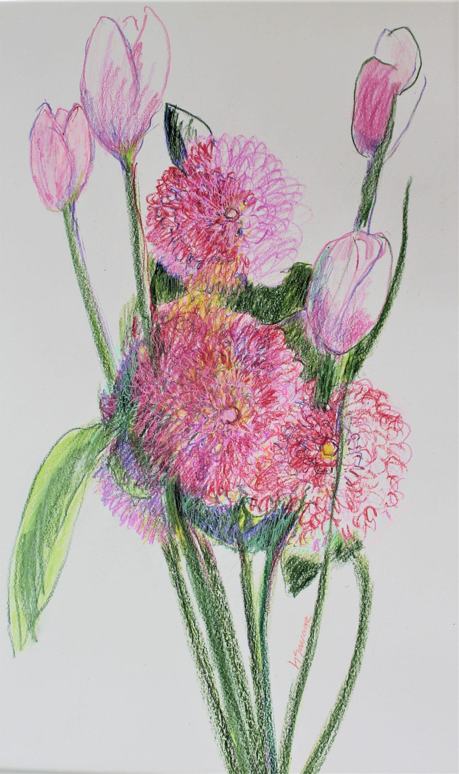 Dahlias And Tulips Crayon