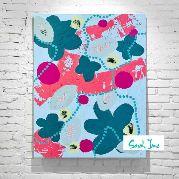 Sarah Jane Artist Abstract Painting Botanicals Bright Colours Flowers And Bees Titled Pollination Ii
