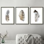 Feathers On White Triptych
