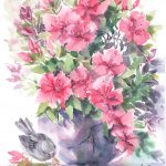 Azaleas and Sparrow