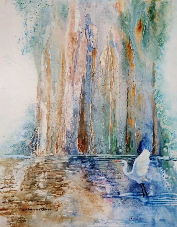 Clare Riddington Jones, Life On The River, Egret, 40cm X 50cm Acrylic On Cradled Timber Board