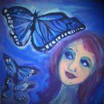 Girl with Blue Butterflies