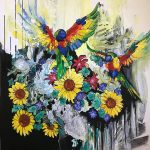 Lorrikeet love sunflowers