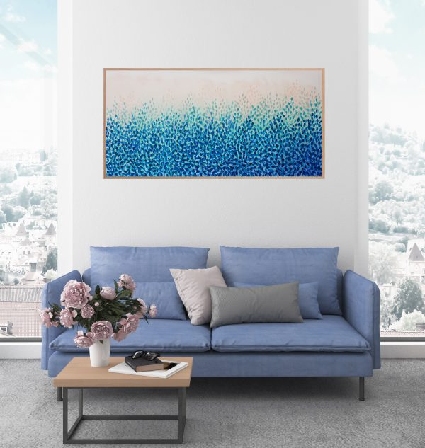 Interior Artist Leni Kae Float With Me Over Treetops Lounge Room Interior Design Blue Teal Framed Abstract Landscape Art