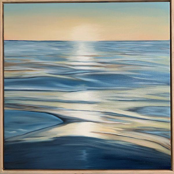 Our Golden Hour Alanah Jarvis Oil In Canvas Framed In Tasmanian Oak Hovelay Image