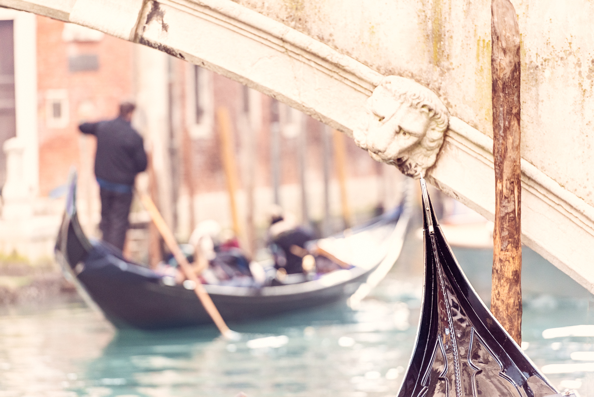 Venice Canal Gondola Under The Bridge
