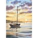 Sunset Sail – Original watercolour painting