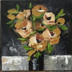 Golden Textured Roses (3 paintings)