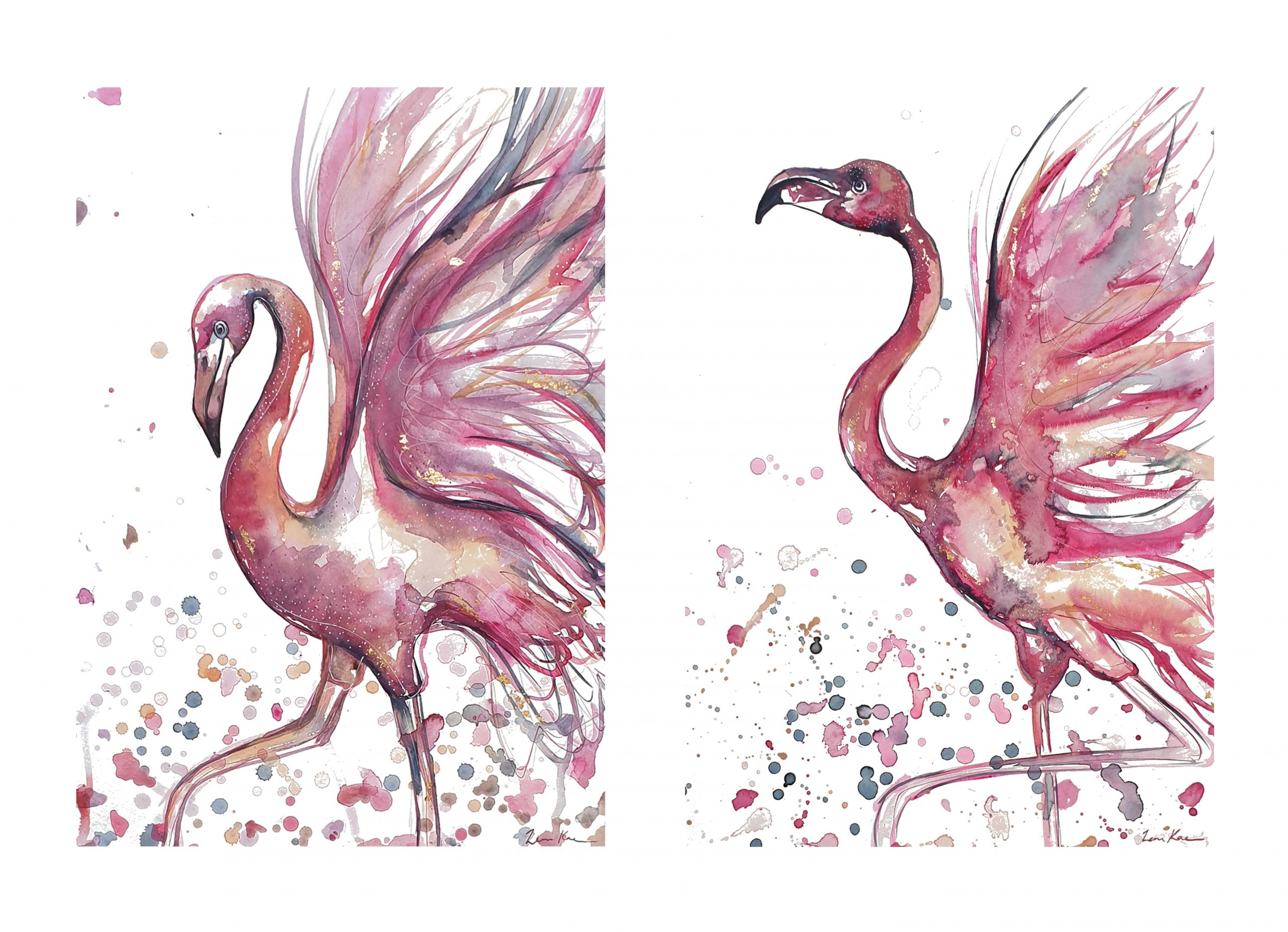 Artist Leni Kae Two Flamingo Print Set Kids Room Art