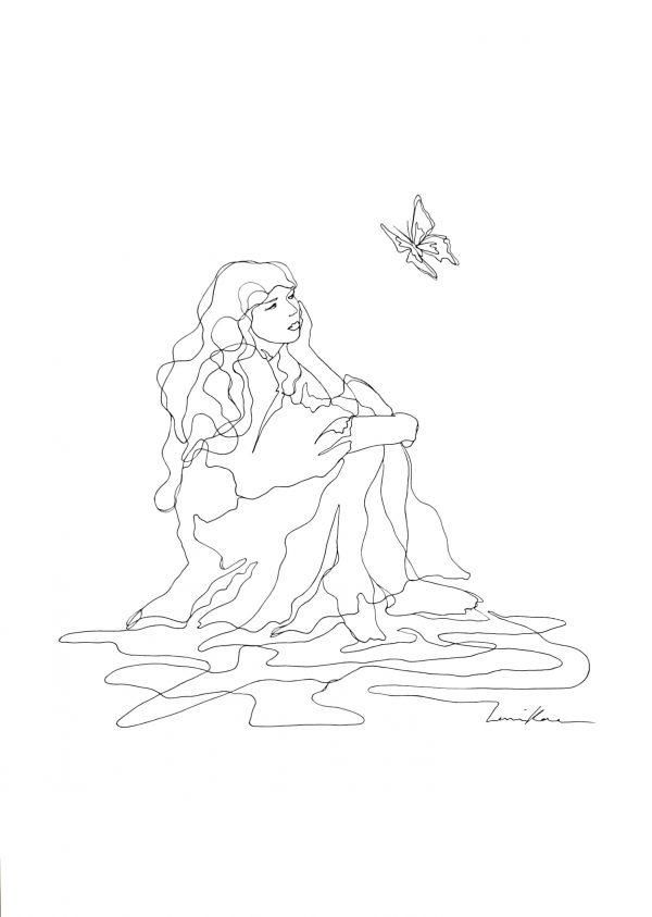 Artist Leni Kae My Butterfly Spirit Original Lne Art Drawing2