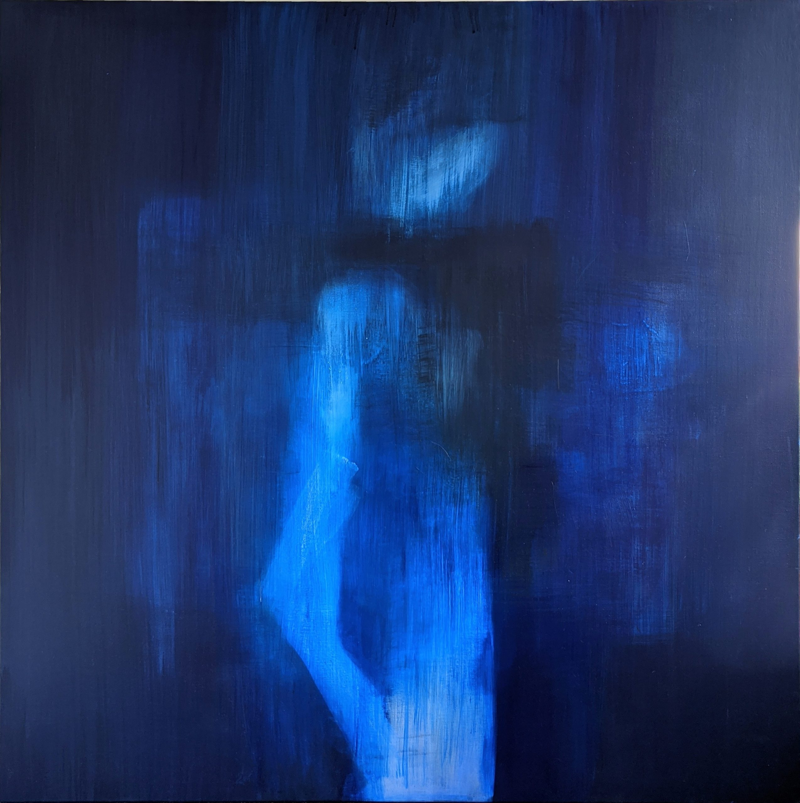 'blue Figure With Fractured Olecranon'. 115cm X 115cm. Acylic & Alcohol On Canvas. July 2020.