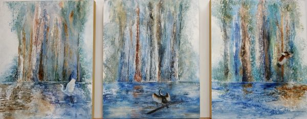 Life On The River, Triptych, Clare Riddington Jones, 1.2 X 50cm, Acrylic On Cradled Timber Board