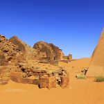 Panorama Meroë Necropolis, Pyramids Northern Burial Ground, Sudan – Ltd Ed Print