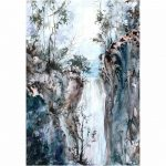 Blue Waterfall – Original watercolour painting