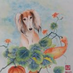 Saluki Dog and Pumpkin – Ltd Ed Print