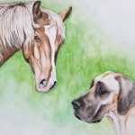 Great Dane Dog and Horse – Ltd Ed Print