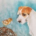 Jack Russel Dog and a Chick – Ltd Ed Print