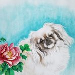 Tibetan Spaniel Dog and Peony Flowers – Ltd Ed Print