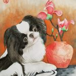 Japanese Chin with Vase and Magnolia – Ltd Ed Print