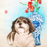 Havanese Dog Iris and Blue China Vase – Ltd Ed Print