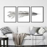 Black and White Feather Triptych