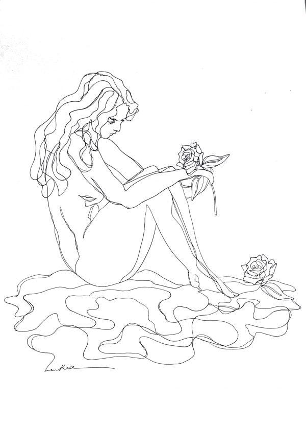 Artist Leni Kae Roses By The Lake Ed2 Original Line Art Drawing Copyright