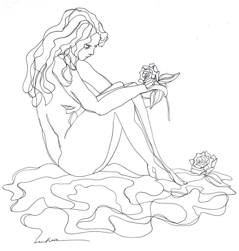 Artist Leni Kae Roses By The Lake Ed2 Original Line Art Drawing Copyright 800x1097