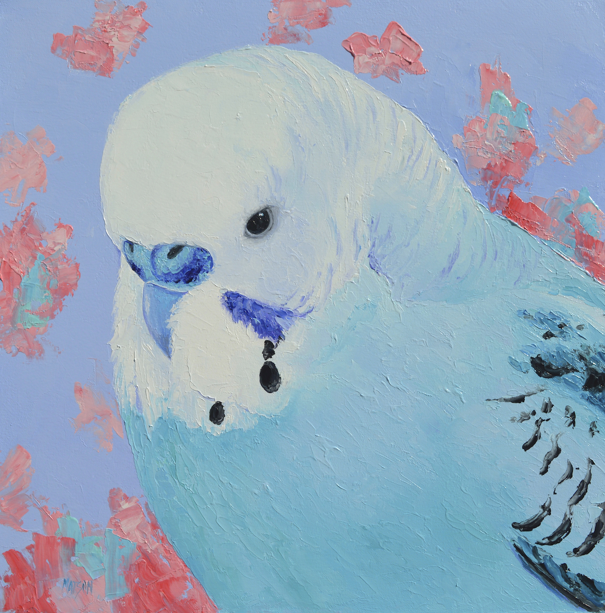 Blue Budgie Painting By Jan Matson