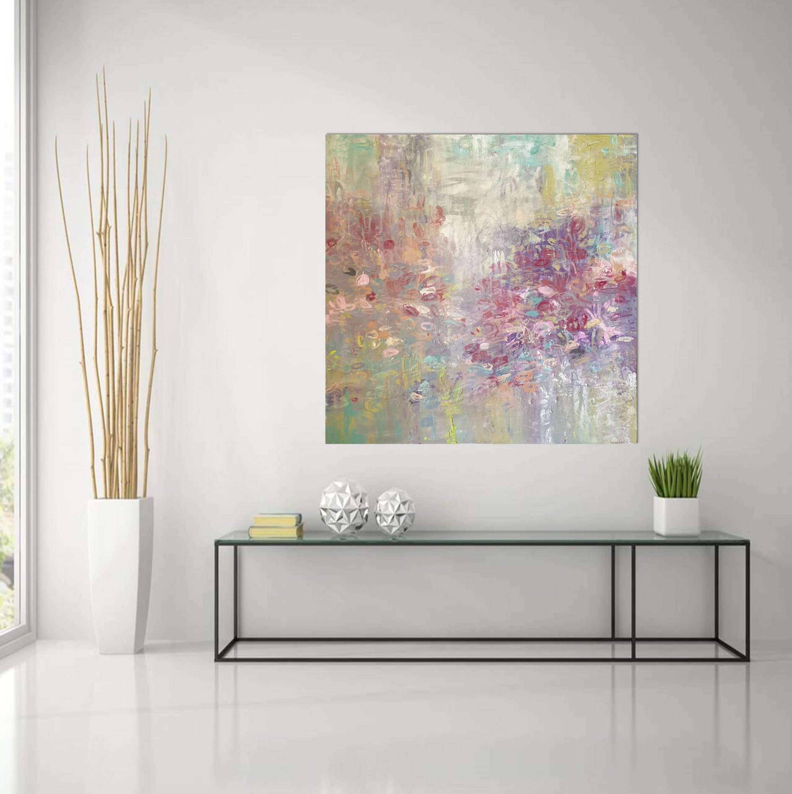 Garden With Roses High Rise Glass Table