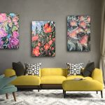 Wild Botanical Abstract -Camellia and Grevillea – Set of 3
