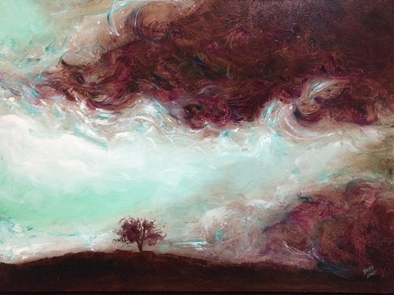 Red Storm L David Clare Artist Art Lovers Australia