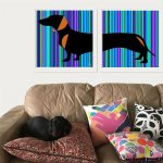 Schnitzel the Dachshund (diptych) – Ltd Ed Modernist fine art prints