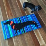 Schnitzel the Dachshund – Diptych in Blue (acrylic on canvas)