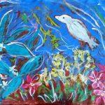 Spring Garden with Bird