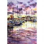 Purple Sunset – Original watercolour painting