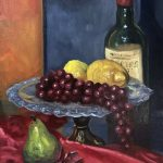 Wine, grapes, lemon, pear – still life