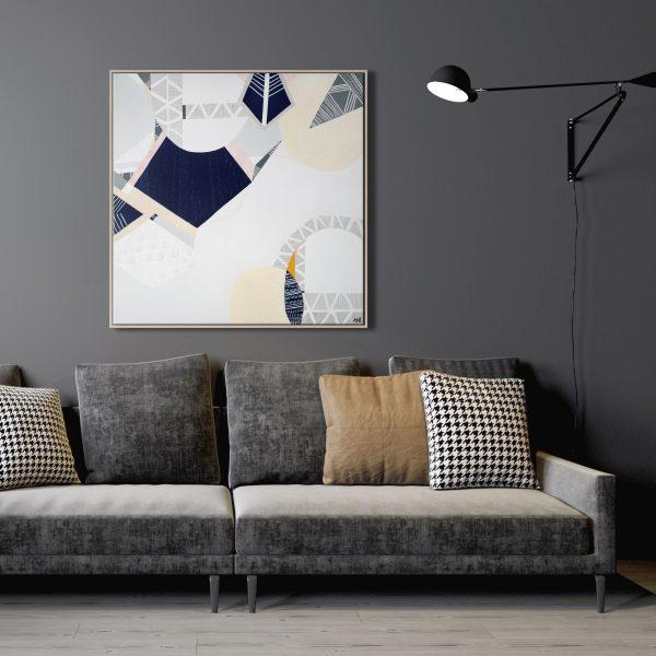 Modern Living Room Interior Background, Dark Wall, Scandinavian