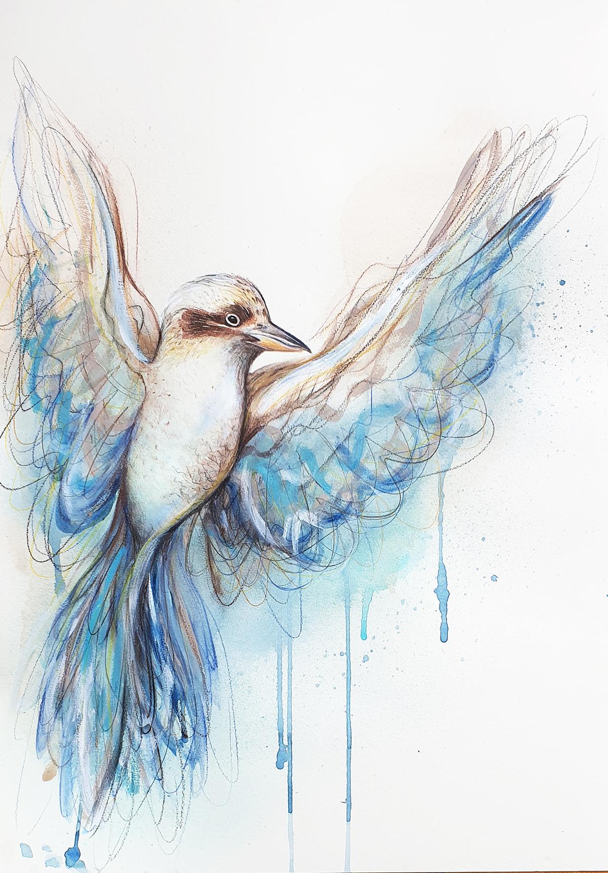 Artist Leni Kae Flight Of The Blue Winged Kookaburra Watercolour Bird Art Copyright 2 Sm