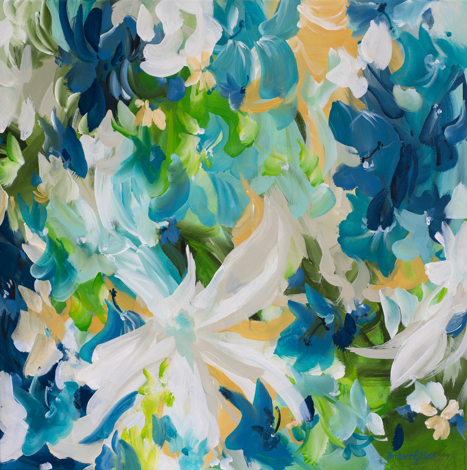 Blue Hibiscus Abstract Floral Painting By Amber Gittins