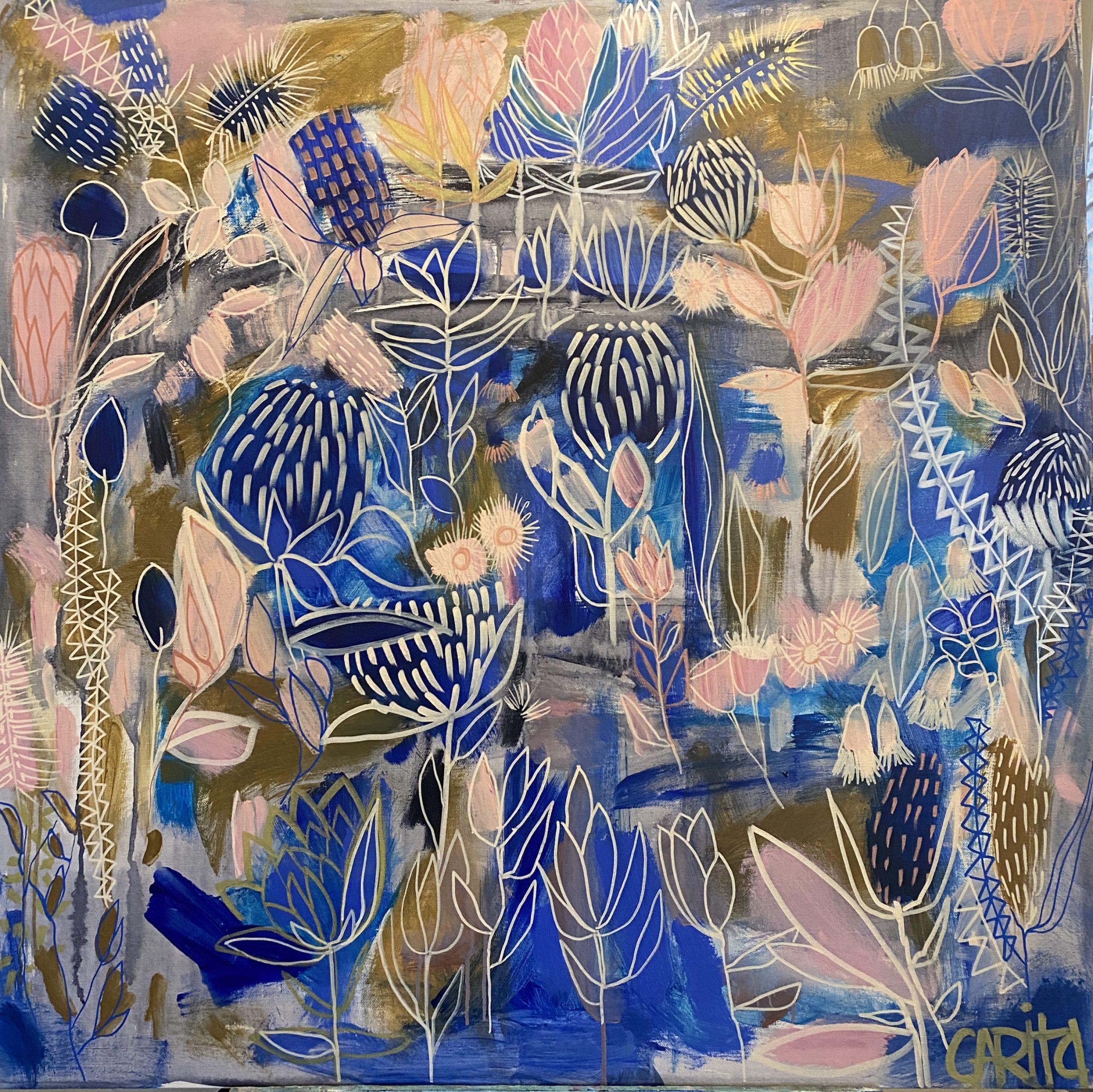 Carita Farrer Spencer New Blue 100×100