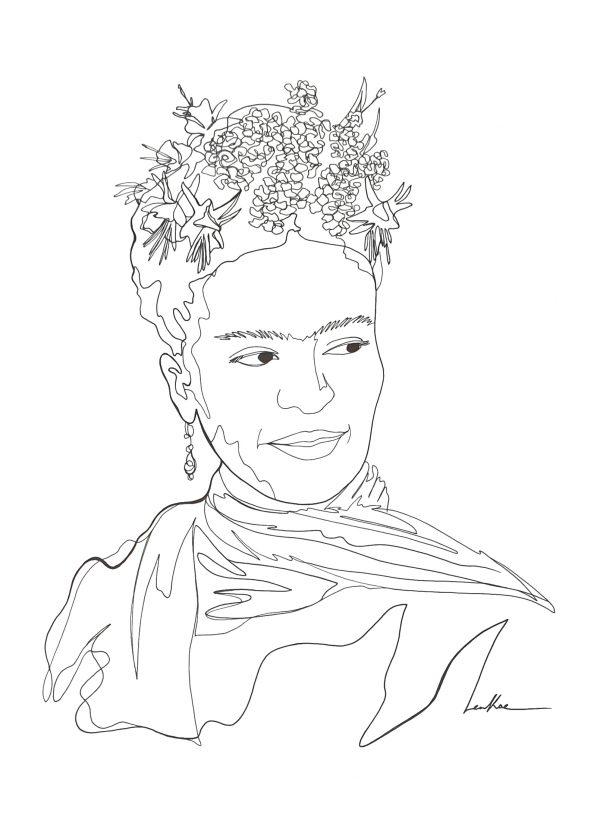 Frida Fan Line Art Drawing Leni Kae Illustration