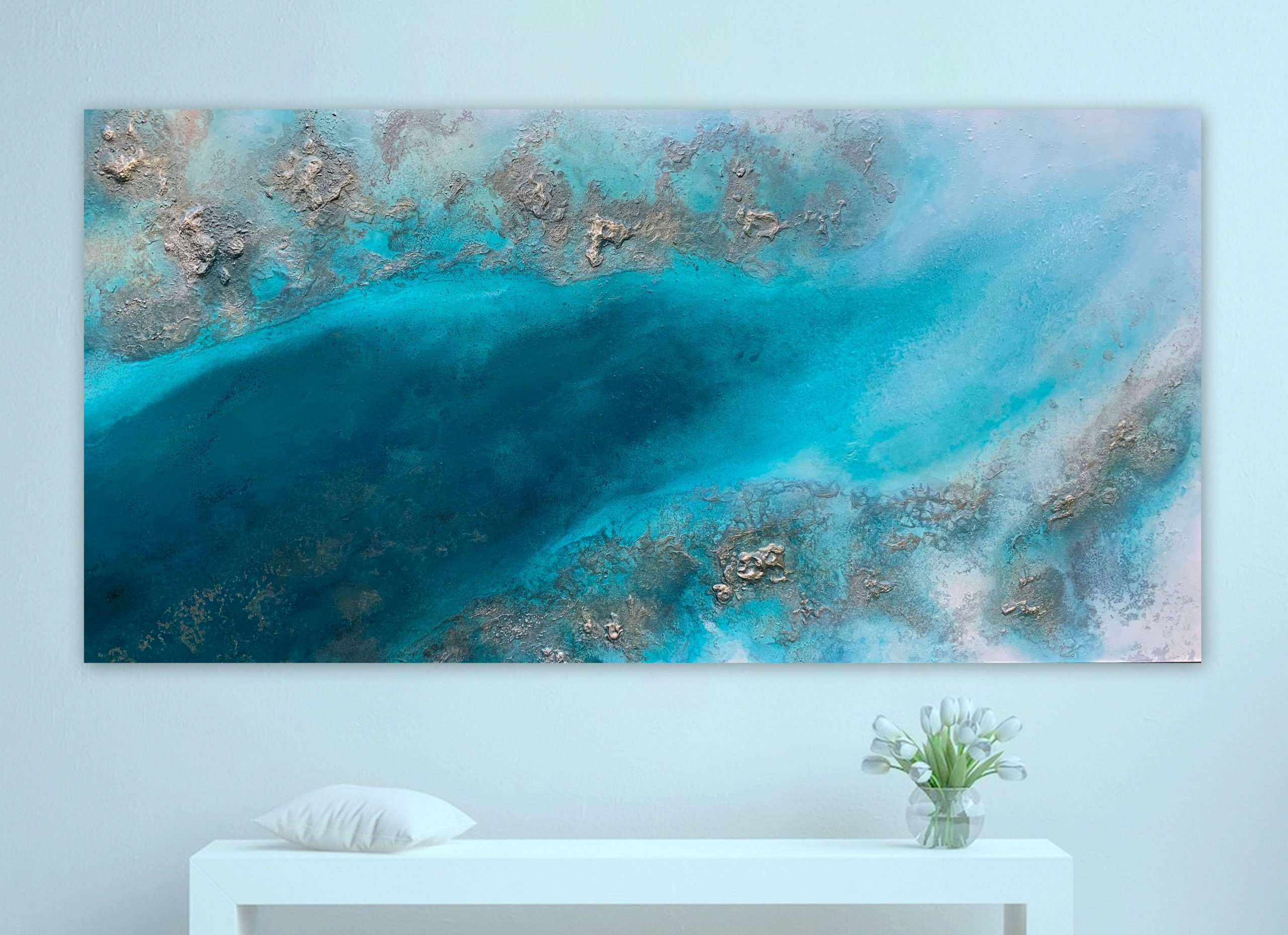 Large Teal Abstract Wall Art By Petra Meikle De Vlas2